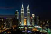 stock photo of petronas twin towers  - the twin towers in kuala lumpur malaysia - JPG