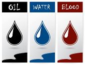 stock photo of drop oil  - Set of vertical flyers with drops of oil - JPG