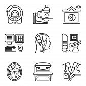 image of ct scan  - Simple flat black line vector icons for medical research - JPG