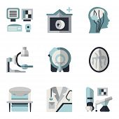 stock photo of ct scan  - Simple blue and black color flat style vector icons for medical research - JPG
