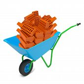 image of hand-barrow  - Pile of bricks in hand - JPG