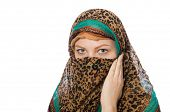 stock photo of burka  - Woman wearing traditional clothing on white - JPG