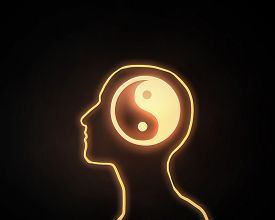 picture of yin  - Human head with yin yang icon on dark background  - JPG
