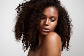 picture of afro hair  - pretty black young woman with afro hair - JPG