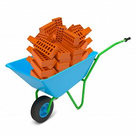 foto of hand-barrow  - Pile of bricks in hand - JPG
