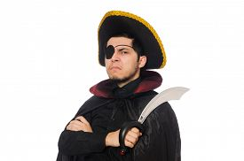 stock photo of pirate sword  - One eyed pirate with sword isolated on white - JPG