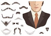 Mustaches For Man.vector Collection On White For Design poster