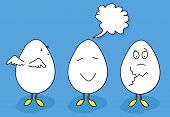Eggs animated with emotions
