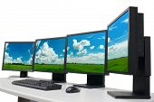several monitors with panoramic image