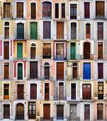 Front doors, Barcelona, Spain