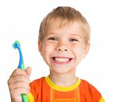smiley boy cleans a teeth isolated on white background