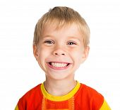 happy smiling five-year-old boy isolated on white background