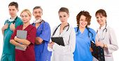 Young successful medical team. Six female an male doctors