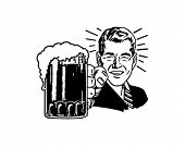 stock photo of drawing beer  - Retro Beer Guy  - JPG