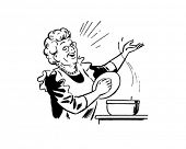 Lady Cook With Pot - Retro Clip Art