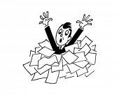 Homem se afogando em jornais - Retro Clip-Art