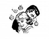 Retro Christmas Couple - Clip Art