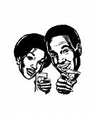 Couple With Cocktails 2 - Retro Clip Art