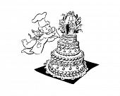 stock photo of cherubim  - Wedding Cake And Cherub  - JPG