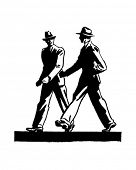 Two Men Walking - Retro Clip Art