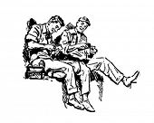 Shop Talk - Workers On Lunch Break - Retro Clip Art
