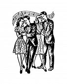 Fun At The Prom - Teen Couples Dancing - Retro Clip Art