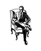 Man Sitting In Armchair - Retro Clip Art
