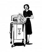 The Modern Fifties Washer - Housewife Doing The Laundry