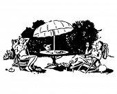 Backyard Lounging - Retro Clip Art