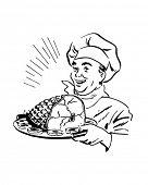 Chef With Ham - Retro Clip Art