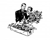 The Right Gift Anytime - A Bouquet Of Flowers - Retro Clip Art