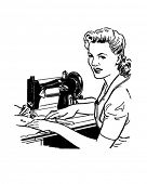 Woman Sewing - Retro Clip Art