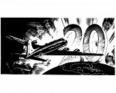 Airplane And Number 20 - Retro Clip Art