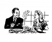 Couple Having Breakfast - Retro Clip Art