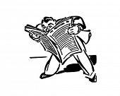 Man Reading Newspaper - Retro Clip Art
