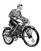 Motorized Bicycle - Retro Clipart Illustration
