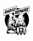 Radio Repairs - Ad Header - Retro Clipart