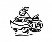 Runaway Car - Retro Clipart Illustration