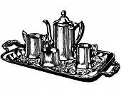 Silver Coffee Service - Retro Clipart Illustration