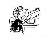 Telegraph Operator - Retro Clipart Illustration