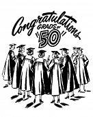 Congratulations Grads of 50 - Retro Clipart Illustration