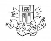 Children Listening To Radio - Retro Clipart Illustration