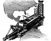 Panamakanaal Dredger - Retro Clipart illustratie