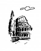 Roman Coliseum - Retro Clipart Illustration