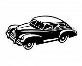 Постер, плакат: Сороковых годов автомобиль ретро клипарт иллюстрация