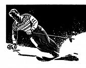 Stylish Skier - Retro Clipart Illustration