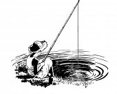 Favorite Fishing Hole - Retro Clipart Illustration