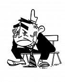 Depressed Man - Retro Clipart Illustration