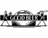 Good Eats Good Beer - Retro Ad Art Banner