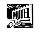 Approved Motel 2 - All Conveniences - Retro Ad Art Banner